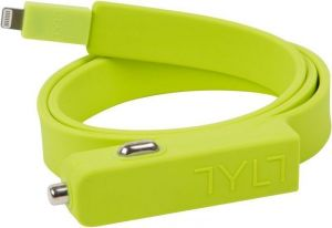 Автомобильное ЗУ TYLT Band Car Charger LIGHTNING+USB, Green (2.1А, 0.6 m) (IP5-BANDG-T)