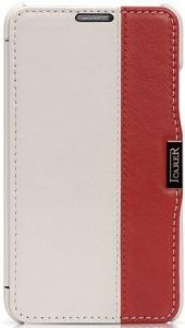 Кожаный чехол для Samsung Galaxy Note 3 (N9000) iCarer Colorblock White/Red (side-open) (RS900002)