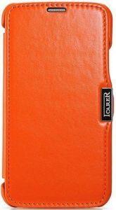 Кожаный чехол для Samsung Galaxy S5 (G900) iCarer Luxury Orange (side-open) (RS960001)