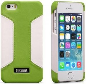 Кожаный чехол для iPhone SE и iPhone 5/5S iCarer Colorblock Green/White (back cover) (RIP518)