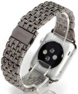 Металлический ремешок со стразами Swarovski для Apple Watch 42mm (Серия 1/2/3) / 44mm (Серия 4/5) COTEetCI W4 Magnificent Watchband Black (CS2088-BK)