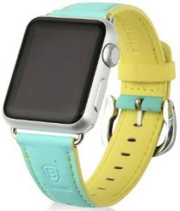 Ремешок из искусственной кожи для Apple Watch 38/40mm Baseus Colorful Watchband Green-Yellow