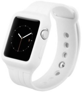 Силиконовый ремешок с чехлом для Apple Watch 38mm (Серия 1) Baseus Fresh-Color Plus Series Sports Watchband White