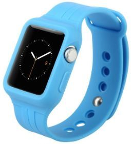 Силиконовый ремешок с чехлом для Apple Watch 38mm (Серия 1) Baseus Fresh-Color Plus Series Sports Watchband Blue