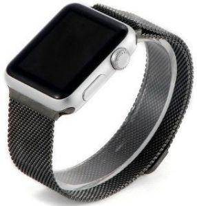 Ремешок со стальным миланским плетением для Apple Watch 42mm (Серия 1/2/3) / 44mm (Серия 4/5) COTEetCI W6 Magnet Band Black (WH5203-GC)