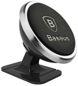 Автодержатель (до 6'') Baseus 360-degree Rotation Magnetic Mount Holder (Paste type) Silver