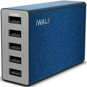 Сетевое зарядное устройство iWalk Leopard M5 5-Port USB, 8A Charging Multi-Port USB Charger Blue (ADL004 M5)