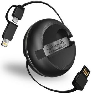Кабель Lightning/microUSB (1 м, 2A, MFi) на катушке iWalk Cobra Retractable Data Cable Black (CSC001)
