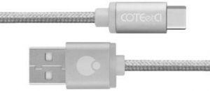 Кабель COTEetCI M20 TYPE-C Cable (Nylon, 1.2M) Silver