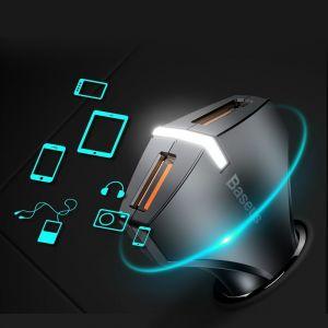 Автомобильное зарядное устройство Baseus Small Rocket QC3.0 Dual-USB Car Charger Black (CCALL-RK01)