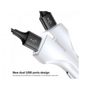 Автомобильное зарядное устройство Baseus Small Rocket QC3.0 Dual-USB Car Charger White (CCALL-RK02)