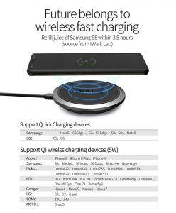 Беспроводное зарядное устройство iWalk Air Power Wireless Charging Pad QC 3.0 Black (ADA007)