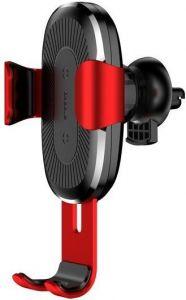 Автодержатель (до 6.5'') с беспроводным зарядным устройством Baseus Wireless Charger 10W Gravity Car Mount Red (WXYL-09)