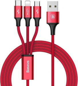Кабель Baseus Rapid Series 3-in-1 Cable Micro+Lightning+Type-C 3A 1.2M Red (CAMLT-SU09)