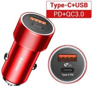 Автомобильное зарядное устройство Baseus Small Screw Type-C PD+USB Quick Charge Car Charger 36W Red (CAXLD-A09)