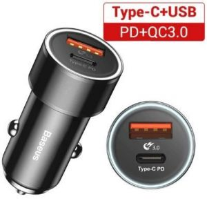 Автомобильное зарядное устройство Baseus Small Screw Type-C PD+USB Quick Charge Car Charger 36W Black (CAXLD-A01)