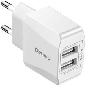 Сетевое зарядное устройство (2.1A) Baseus Mini Dual-U Charger EU White (CCALL-MN02)