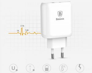Сетевое зарядное устройство Baseus Bojure SeriesType-C PD+U quick charge charger EU 36W White (CCALL-BG02)
