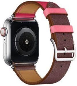 Кожаный ремешок для Apple Watch 42mm (Серия 1/2/3) / 44mm (Серия 4/5) Coteetci W36 Short Fashion Leather Band Bordeaux, Rose Extreme with Rose Azalee (WH5260-44-BRR)
