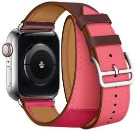 Кожаный ремешок для Apple Watch 42/44mm Coteetci W36 Long Fashion Leather Band Bordeaux, Rose Extreme with Rose Azalee (WH5261-44-BRR)