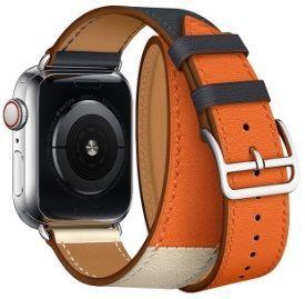 Кожаный ремешок для Apple Watch 42mm (Серия 1/2/3) / 44mm (Серия 4/5) Coteetci W36 Long Fashion Leather Band Indigo, Craie with Orange (WH5261-44-ICO)