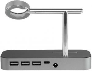 Док-станция для iPhone + USB хаб COTEetCI Base Hub B18 MFI Stand 3 USB Hub, 1 type-c Grey (CS7200-GY)