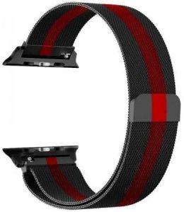 Ремешок со стальным миланским плетением для Apple Watch 42/44mm COTEetCI W6 Magnet Band Black With Red (WH5203-BR)