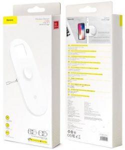 Беспроводное зарядное устройство (7.5W+7.5W+2.5W) Baseus Smart 3-in-1 Wireless Charger For Phone+Watch+Pods Black (WX3IN1-01)