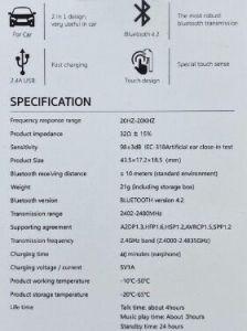 Bluetooth-гарнитура (правое ухо) с автомобильным зарядным устройством COTEetCI AIR-J Car Charger Bluetooth Headset White (CS5185-R-WH)