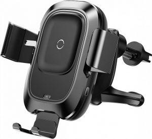 Автодержатель (до 6.5'') с беспроводным зарядным устройством Baseus Smart Vehicle Bracket Wireless Charger Black (WXZN-01)