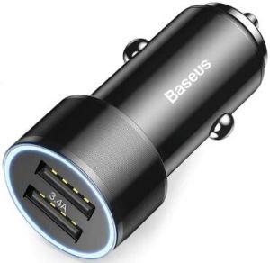 Автомобильное зарядное устройство Baseus Small Screw 3.4A Dual-USB Car Charger Black (CAXLD-C01)