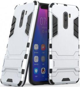 Ударопрочный чехол-подставка Transformer для Xiaomi Pocophone F1 Серебряный / Satin Silver