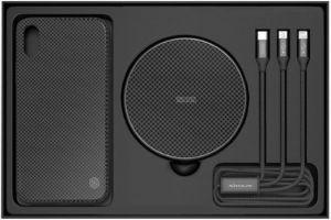 Подарочный набор (чехол + беспроводное ЗУ + кабель 3в1) для iPhone XS Max (6.5'') Nillkin Fancy Black