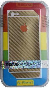 Набор защитных пленок (дисплей+задняя сторона) для iPhone SE и iPhone 5/5S/5C Remax (front + back) Pure Sticker Golden