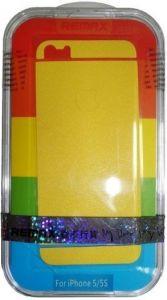 Набор защитных пленок (дисплей+задняя сторона) для iPhone SE и iPhone 5/5S/5C Remax (front + back) Pure Sticker Yellow