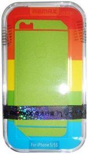 Набор защитных пленок (дисплей+задняя сторона) для iPhone SE и iPhone 5/5S/5C Remax (front + back) Pure Sticker Green