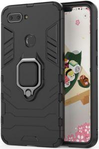 Ударопрочный чехол Transformer Ring под магнитный держатель для Xiaomi Mi 8 Lite / Mi 8 Youth(Mi 8X) Черный / Soul Black