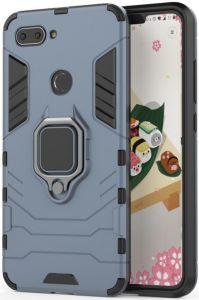 Ударопрочный чехол Transformer Ring под магнитный держатель для Xiaomi Mi 8 Lite / Mi 8 Youth(Mi 8X) Серый / Metal slate