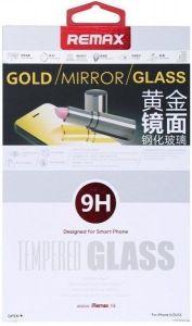 Защитное cтекло (с зеркальным эффектом) для iPhone SE и iPhone 5/5S/5C Remax Golden Mirror, 0.2mm, 9H