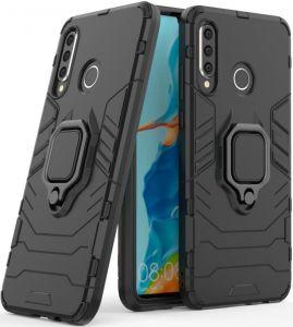 Ударопрочный чехол для Huawei P30 Lite Transformer Ring под магнитный держатель Soul Black