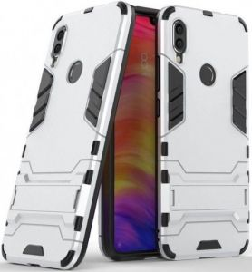 Ударопрочный чехол-подставка для Xiaomi Redmi 7 Transformer с мощной защитой корпуса Satin Silver