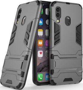 Ударопрочный чехол-подставка для Samsung A405F Galaxy A40 Transformer с мощной защитой корпуса Gun Metal