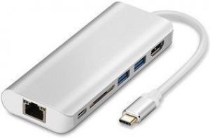 Переходник WIWU Adapter H1 Plus USB-C to USB-C+RJ45+HDMI+SD+3xUSB3.0 HUB Silver (6957815504596)