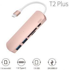 Переходник WIWU Adapter T2 Plus USB-C to USB-C+microSD+SD+2xUSB3.0 HUB Rose Gold