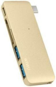 Переходник WIWU Adapter C1 Plus USB-C to USB-C+SD+2xUSB3.0 HUB Gold (6957815503797)