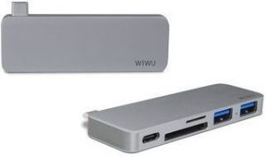 Переходник WIWU Adapter T6 USB-C to USB-C+microSD+SD+2xUSB3.0 HUB Gray