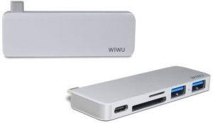 Переходник WIWU Adapter T6 USB-C to USB-C+SD+2xUSB3.0 HUB Silver