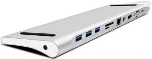 Переходник + подставка для ноутбука WIWU Adapter T7 USB-C to USB-C+RJ45+SD+3xUSB3.0+VGA+HDMI+Mini Display port Silver (6957815505319)