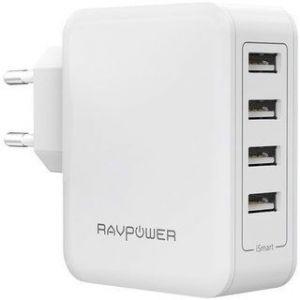 Сетевое зарядное устройство RavPower USB Wall Charger 4xUSB 40W White (RP-PC026WH)