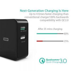 Сетевое зарядное устройство RavPower USB Wall Charger Quick Charge 3.0 2xUSB 30W Black (RP-PC006BK)
